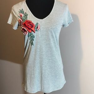 - NWT Poof Couture shirt with embroidered ro…
